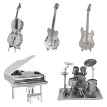 Hot Toys Present Gift 3D Metal Puzzles DIY Model Musical Instrument Violoncello Piano Drum Band Bass Guitarkit Children Jigsaws
