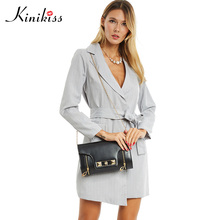 Kinikiss 2017 women trench turn down collar spring gray female coats long sleeve ol office women tops pocket overcoats sashes(China)