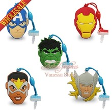 4pcs/lot PVC Dust plug Phone pendants Super Avengers phone accessories Strap strings travel bag decoration Children gift