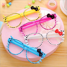 Cartoon Ballpoint Pen Glasses Ball-point Pen 4 Kinds Of Colors Student Award Gift Stationery Office Supplies