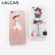 KALCAS 4S 5S 6S 7 Plus Coque Slim Cute Girls Clear Soft Coque Capa For Iphone 4 4S 5 5S SE 6 6S 7 7 Plus Thin Cases(China)