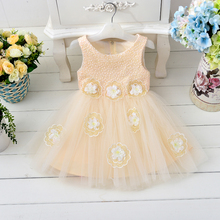 Wholesale Cute Flocking Bow Tulle Flower Girl Dresses Yarn Ball Gown For Children Communion Girls Dress Free DHL T273