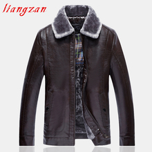 Men PU Leather Jacket Winter Snow Warm Fleece Casual Motorcycle Coats Male Brand Slim Fit Straight L-5XL Trench Coats SL-K404(China)