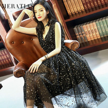 2017 New Women Spring Ball Gown Party Dress Princess Dress Sleeveless Gauze Bead Star Print Retro Vintage Party Black Dresses