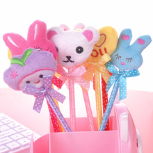 Japan Korean Creative Stationery Plush Animals Cartoon Ball-point Pen 10pcs/lot Mixed Design Student Sign Pens Wedding Gift WZ(China)