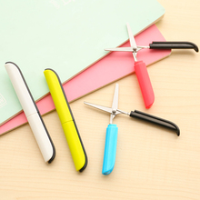 JIANWU Personality color scissors pen type folding portable scissors safety hand scissors with protective cover office supplies(China)