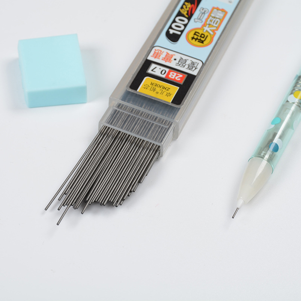 100Pcs/Box 0.5/0.7mm Graphite Lead 2B Mechanical Pencil Replace Lead Pencil Refill Erasable Smooth Writing Drawing Stationery