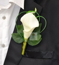 Top Quality 5Pcs/Lot Hand Custom Made Groom Groomsman Corsage Calla Lily Flower Wedding Best Man Boutonniere Man Suit Pin Brooch(China)