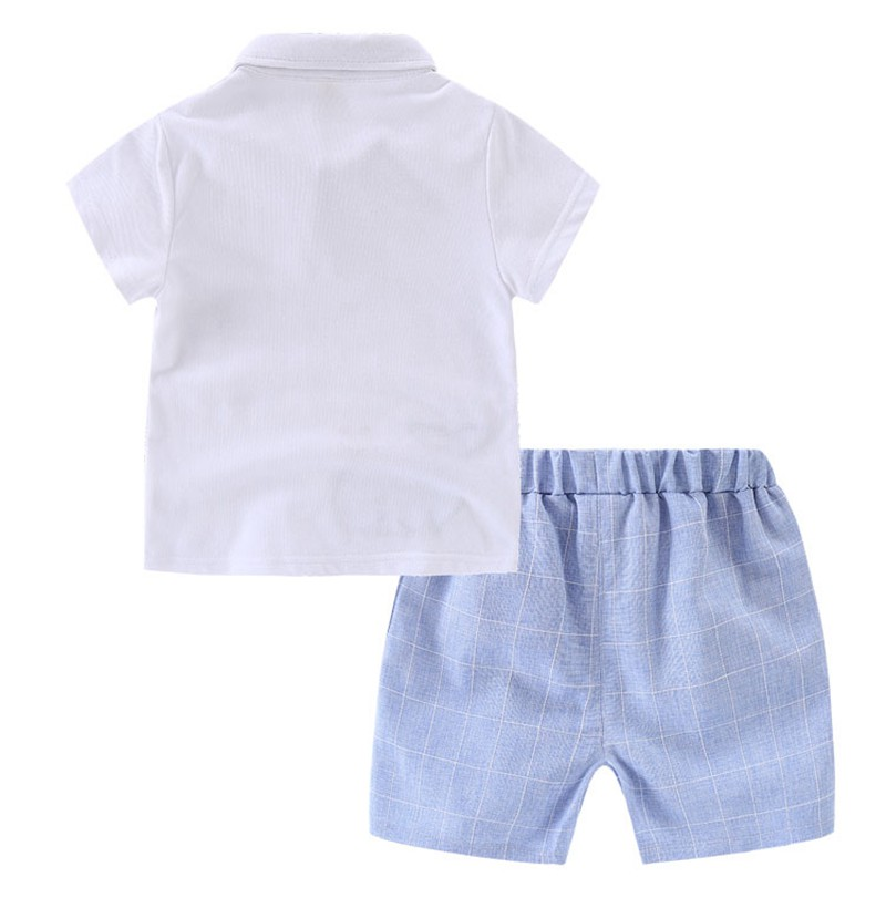 80-120cm Cute Whale Kids Boys Clothes Sets Baby Boys Summer Clothing Suits White Short Sleeve T-shirts + Plaid Shorts (3)