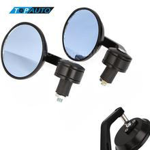 "1 Pair Motorcycle Mirror 7/8"" Universal Round Motorbike Motorcycle Handle Bar End motorcycle Rearview Mirror Side Mirror Black"
