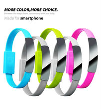 High Quality Bracelet Flat Style micro USB Portable Charging Data Cable For Mobile Phone samsung LG