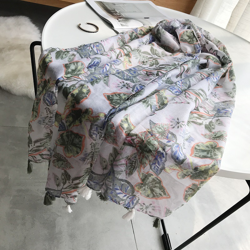 Fashion Newest Women Leaf pattern Tassel Scarf  Cotton Scarf Shawls 10pcs/lot