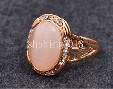 18KT Rose Gold Color Moonstone Opal Crystal CZ Zircon Women's Wedding Band Engagement ring Bride Jewelry