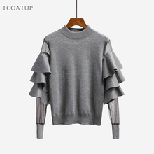 Butterfly Sleeve Sweater Women 2017 Fall Autumn Mesh Patchwork Layered Bell Sleeve Knit Pullovers Ruffle Jumper Fashion Sweater