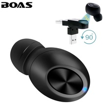 BOAS Mono Small Wireless Bluetooth Earphone Magnet Invisible hidden Business in ear earpiece Handsfree with Mic for smartphone(China)
