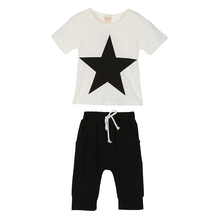 Baby Boy Summer Star Printed Clothes Set Child Boys T shirt+Pants Kids Clothes Children Clothing Set