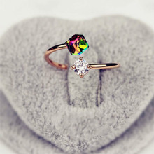 New Design Fashion Charm Austrian Crystal Ring Wedding Ring Valentine's Day Gift Rose Double Zircon Cz Female Engagement Ring