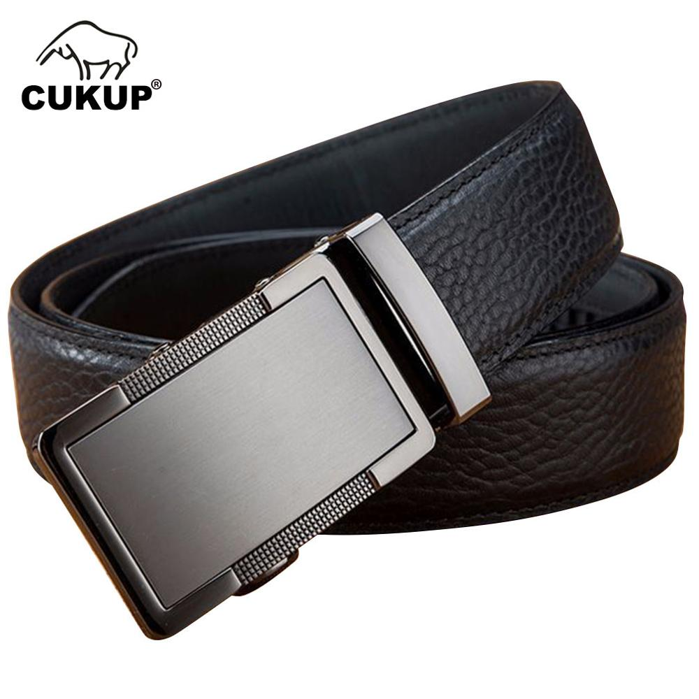 CUKUP 2018 New Genuine Leather Men's Luxury Automatic Belt Buckle Mens Dress Belts for Jeans Formal Pants Accessories Men NCK653