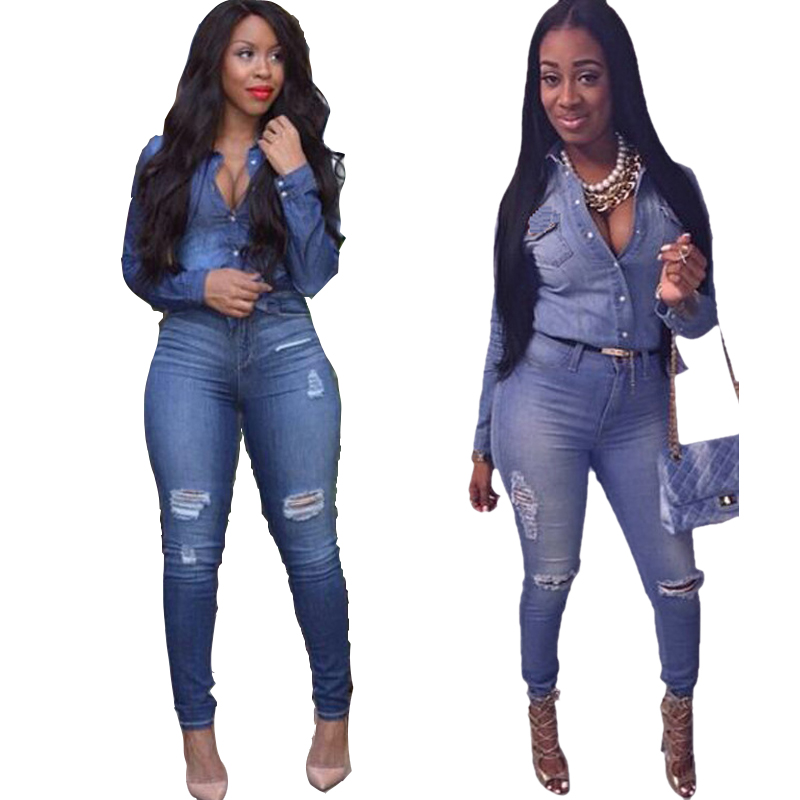 Women Hole Sexy Denim Jumpsuit Long Sleeve High Waist ripped Jean Bodysuit Skinny Jeans Woman Plus Size Bndage Bodycon Jumpsuits