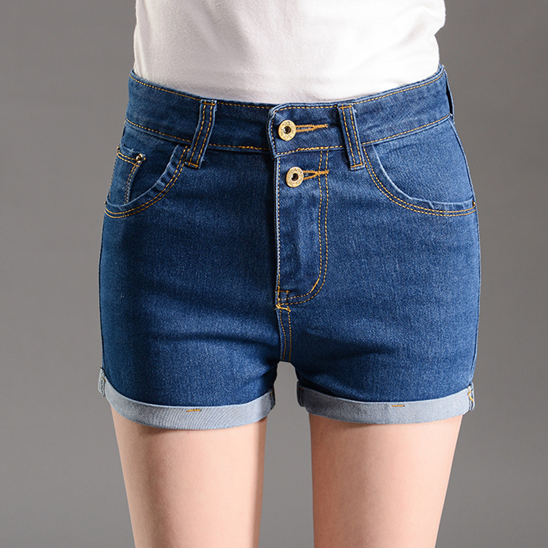 2016 new summer pants waist curling blue denim shorts female slim pants KoreanОдежда и ак�е��уары<br><br><br>Aliexpress