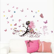 New Removable Butterfly Flower Fairy PVC Wall Stickers Room Art Mural Decal Home Decoration Accessories(China)