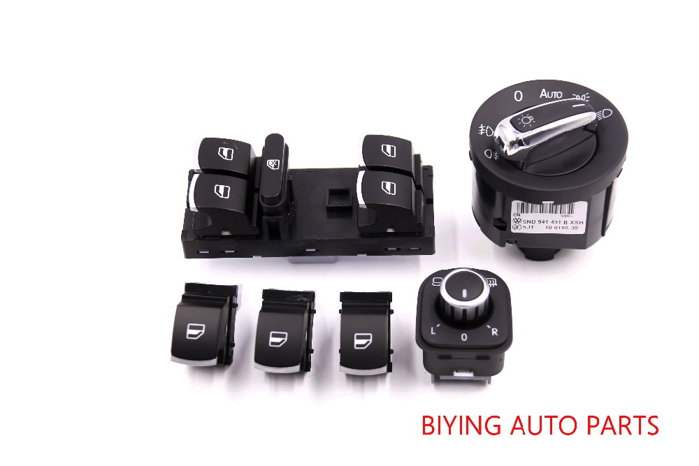 FOR CC Tiguan Passat B6 Golf Jetta MK5 MK6 Chrome  AUTO Headlight switch mirror switch+Door window switch(China)