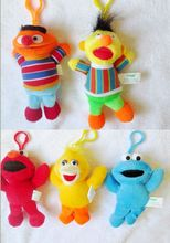 Free Shipping High Quality Soft 5 pcs Sesame Street Plush Dolls Toy Keychain New