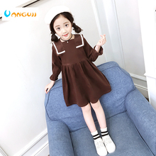 girls dress cotton full sleeve dress 4-13 years old cotton solid all match Corduroy Navy style dress girls princess dress(China)