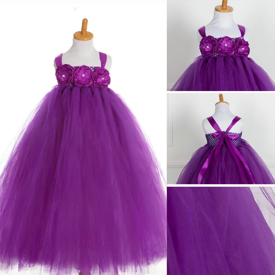 fashion lovely kids clothes for sale beach wedding flower girl dresses purple<br><br>Aliexpress