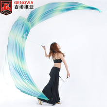 2017 Belly Dance Costume Gradient Silk Veil Poi 1 Set =2 Veils + 2 Poi Chains Oriental Dance Bellydance Veils Poi 1-20 Colors(China)