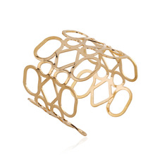 Female Fashion Unique Geometric  Gold-color Silver-plated Iron Cuff Bangle Bracelet