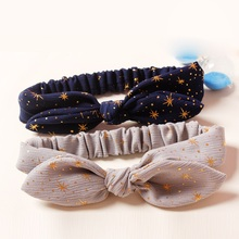 Fall Wire Inside Stretch Headband Gold Dot Hairband Fashion Cute Princess Rabbit Ear Adjustable Elastic Head Band