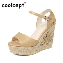 Coolcept Lady Genuine Leather High Heel Sandals Women Platform Summer Shoes Sexy Party Club Sandal Female Footwear Size 34-39