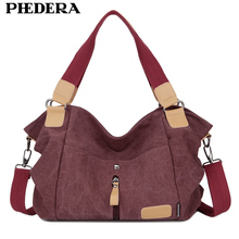 PHEDERA Stylish Handbags for Women Quality Canvas Casual Tote Bags Vintage Female Shoulder Bags Leisure Burgundy/Coffee Purse(China)