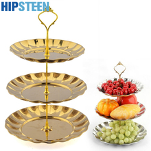 HIPSTEEN 3 Tier Stainless Steel Gold Cake Stand Top Quality Circle Round Display Wedding Birthday Party Cupcake Standaard(China)