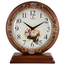 1 piece Korean garden solid wood desk clock/ Bedroom mute table clock/ European style living room decoration table clock