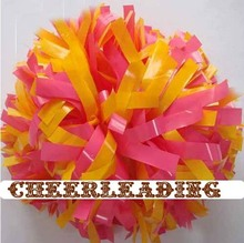 "cheerleading Pom poms 3/4""x 6""~custom color wet plastic  pink and yellow handmade new hot sale"