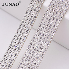 JUNAO 5 Yard Clear Crystal Rhinestones Chain Trim Bridal Applique Glass Beads Strass Banding Mesh For Wedding Dress Home Decor