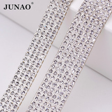 JUNAO 5 Yard Clear Crystal Rhinestones Chain Trim Bridal Applique Glass Beads Strass Banding Mesh For Wedding Dress Home Decor(China)