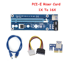 1Set Blue Ver.007 USB 3.0 PCI-E Riser Card 1X 4X 8X 16X Express Riser Card Extender SATA Power Adapter Cable For Mining