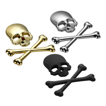 Car Motorcycle Auto Logo 3D Metal Skull Emblem Badge Stickers Decal for bmw audi volkswagen vw ford focus 2 3 toyota Accessories