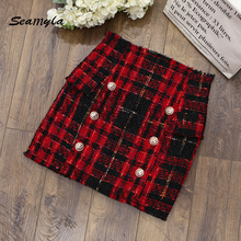 Buy Seamyla 2017 High Designer Runway Skirts Women New Fashion Buttons Red Grid Bodycon Mini Skirt Sexy Club Pencil Skirt for $31.93 in AliExpress store
