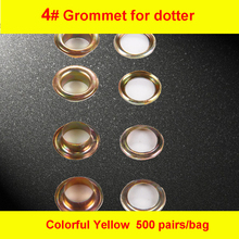 4# Colorful Yellow Iron Grommet Eyelet  for Manual Eyelet Puncher  Hand Press Puncher Grommet for Flex Banner 500set/pack