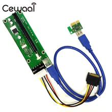 CEWAAL Blue PCI-E PCIE Express Video Card 1X To 16X USB Extender Adapter Riser Anti Burning Extension Lines for Bitcoin Litecoin