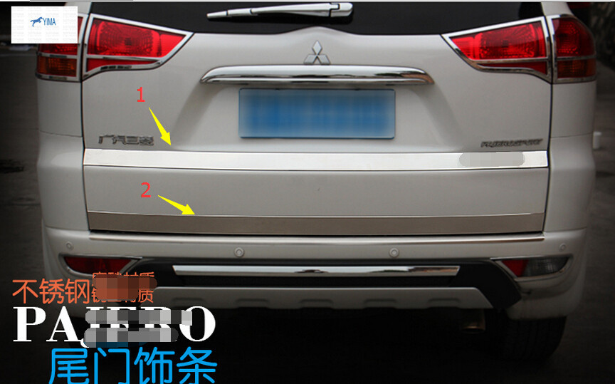 more fashion! For Mitsubishi Montero Pajero Sport 2011-2014 Stainless Steel Rear Trunk Lid Cover Trim 2 pcs / set<br><br>Aliexpress