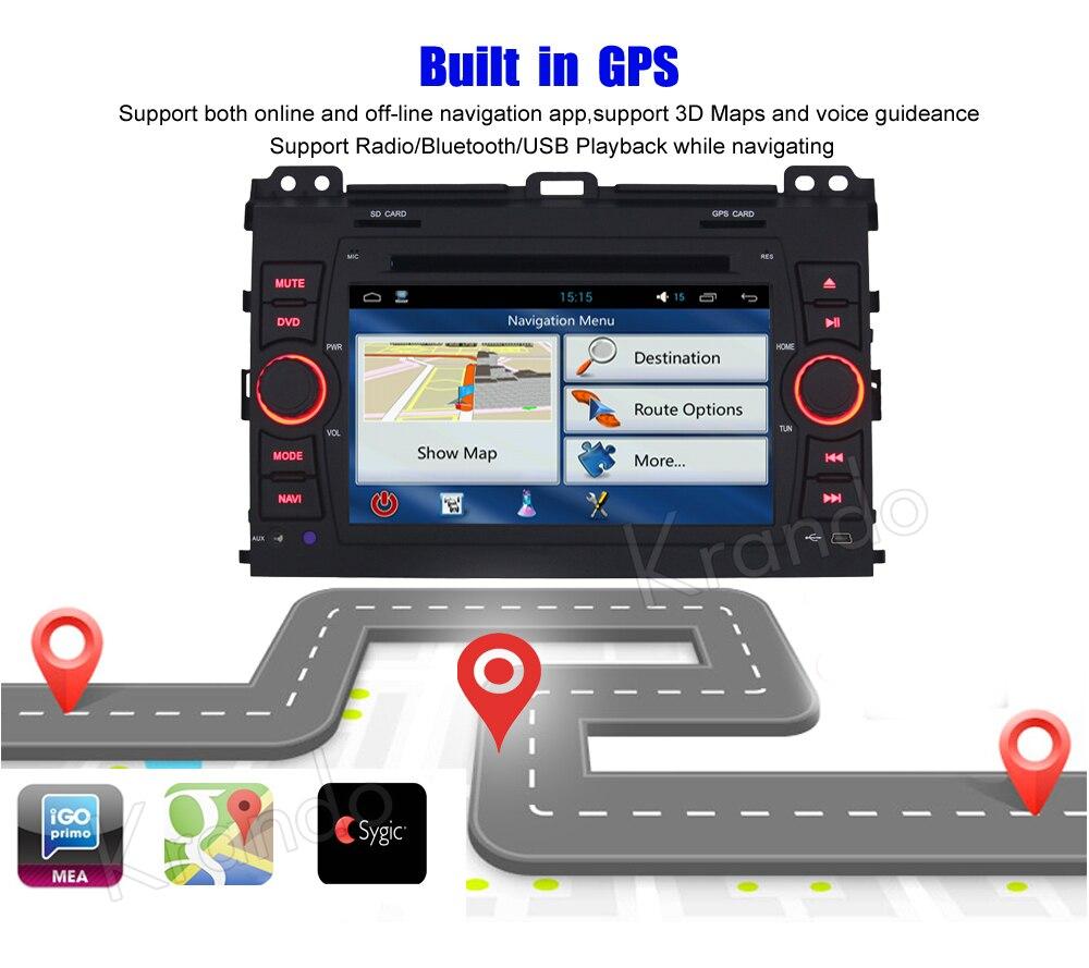 Krando android car stereo navigation system for toyota PRADO 2002-2009 car dvd player multimedia system (5)