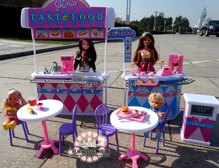 Free Shipping Girl birthday gift  Kitchen burger fast food restaurant doll accessories doll furniture for barbie doll,diy toys<br>