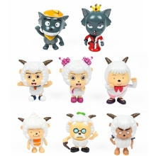 New hot sale 8pcs/set chinese anime figure PVC Genuine Pleasant goat and grey wolf 6CM Collectible Kids Toy Gifts free shipping