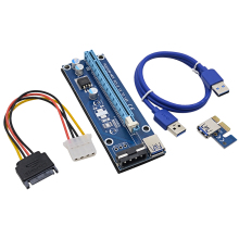 Blue PCE164P-NO3 VER006 0.6M PCI Express PCI-E 1X to 16X Riser Card Extender + 15Pin SATA to 4Pin IDE Power Cord / USB 3.0 Cable
