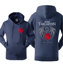 Hot Sale Hoodies Sweatshirts 2017 Winter Fleece Autumn Hoody Print Game of Thrones Team Targaryen Fire & Blood Sweatshirt Kpop